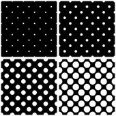 Seamless black, white and grey vector pattern or tile background set with big and small polka dots. — Vecteur