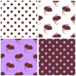 Tile vector background set with polka dots and heart chocolate cupcakes. — Stock Vector