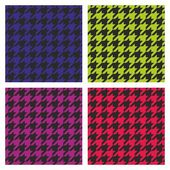 Pastel vector houndstooth seamless dark pink, blue, green, violet and black pattern set. — Stock Vector