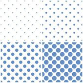Seamless vector pattern set with tile baby pastel blue polka dots on white background. — Stock Vector