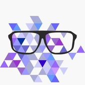 Nerd glasses on grey background with triangle flat surface mosaic. Teacher, professor, secretary or hipster vector illustration. — Stockvektor