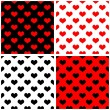 Seamless vector red, black, white background set with hearts Full of love tile pattern — Stock Vector #48742081
