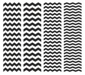 Tile chevron vector pattern set with black zig zag on white background — Vettoriale Stock