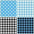 Blue, white and black pastel vector tile background set. Houndstooth and polka dots seamless pattern collection — Stock Vector #48995221