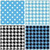 Blue, white and black pastel vector tile background set. Houndstooth and polka dots seamless pattern collection — Wektor stockowy