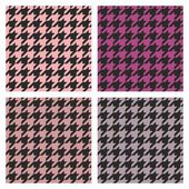 Houndstooth vector seamless colorful pattern set. — Stock Vector