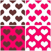 Seamless pink vector background set with hearts. Full of love tile pattern for valentines wallpaper — Stock Vector