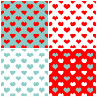 Tile pastel hearts vector background set. Full of love white, blue and red pattern — Stock Vector #49311719