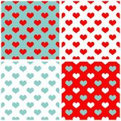 Tile pastel hearts vector background set. Full of love white, blue and red pattern — Stock Vector