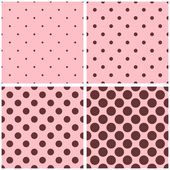 Tile vector pattern set with small and big brown polka dots on pink background. — Stock Vector