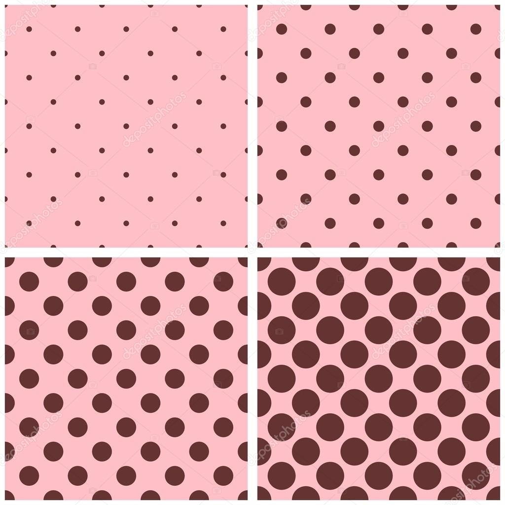 Tile vector pattern set with small and big brown polka ...