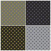 Tile vector dark pattern set with colorful violet and green polka dots on black and grey background — Stock Vector