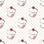 Tile vector pattern with cherry cupcakes and pink polka dots on white background — Stock vektor