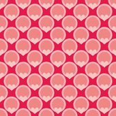 Pink tile vector background with hearts and polka dots — Stock Vector