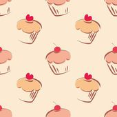Seamless vector pattern or tile texture with little cupcakes, muffins, sweet cake cherry and red heart on top — Stok Vektör