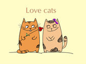 Cat love — Vector de stock