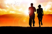 Jogging all'alba — Foto Stock