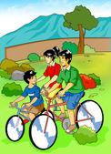 Family Cycling — Stock Photo