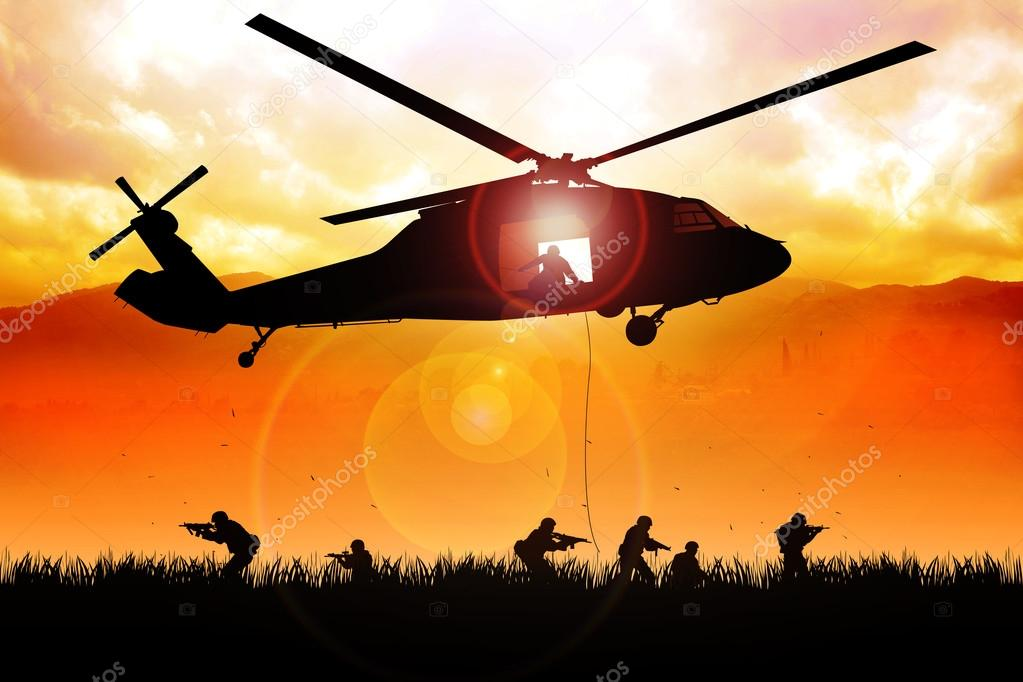 Helicopter is dropping the troops   Stock Photo #13442062