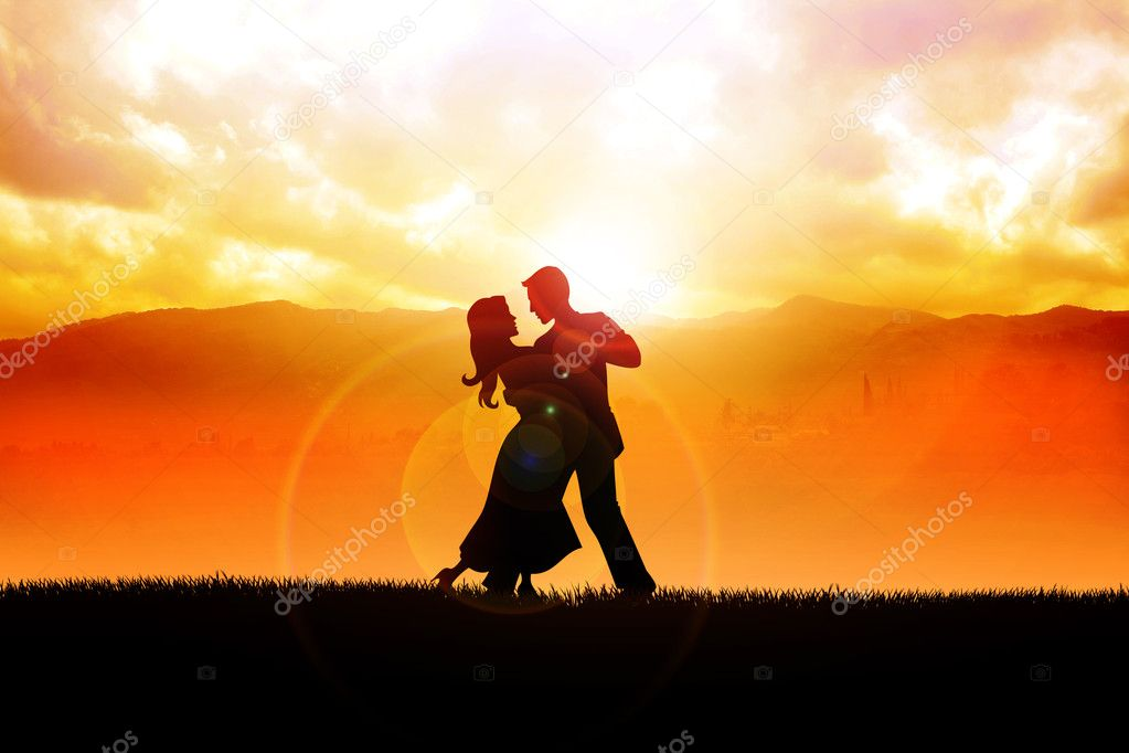 A silhouette illustration of a couple dancing during sunrise  — Stock Photo #13442189