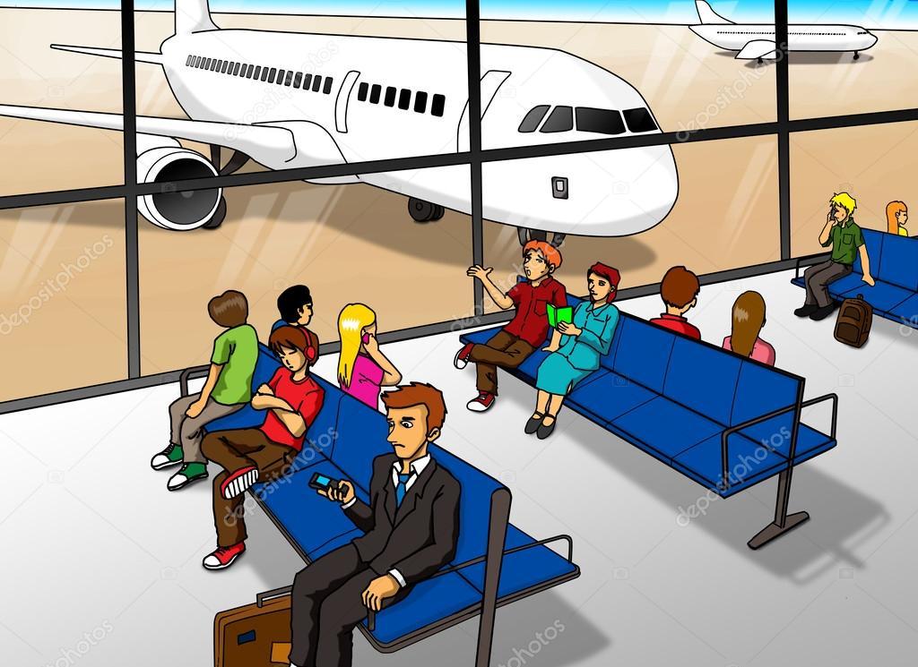 在机场休息室等候的卡通插图