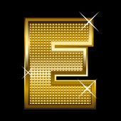 Golden font type letter E — Stock Vector