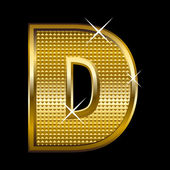 Golden font type letter D — Stock Vector