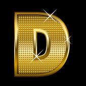 Golden font type letter D — Stock Vector