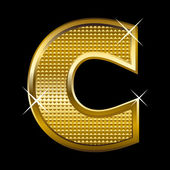 Golden font type letter C — Stock Vector