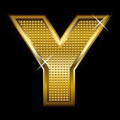 Golden font type letter Y — Stock Vector