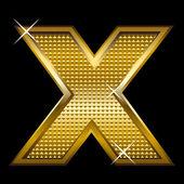 Golden font type letter X — Stock Vector