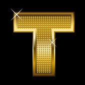 Golden font type letter T — Stock Vector