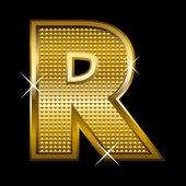 Fuente dorada tipo letra r — Vector de stock