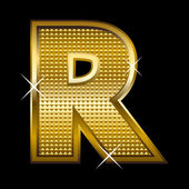 Golden font type letter R — Vector de stock