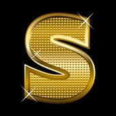 Zlaté písmo typ písmeno s — Stock vektor