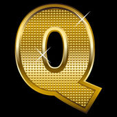 Golden font type letter Q — Stock Vector