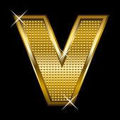 Golden font type letter V — Stock Vector
