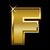 Golden font type letter F — Stock Vector