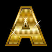 Golden font type letter A — Stock Vector