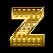 Golden font type letter Z — Stock Vector