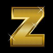 Golden font type letter Z — Stock Vector