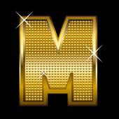 Fuente dorada tipo letra m — Vector de stock