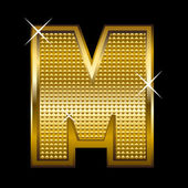Golden font type letter M — Vector de stock
