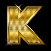 Golden font type letter K — Stock Vector
