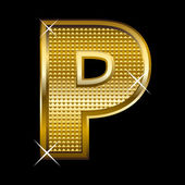 Golden font type letter P — Vector de stock
