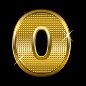 Golden font type letter O — Stock Vector