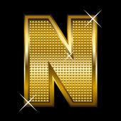 Golden font type letter N — Vector de stock