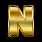 Golden font type letter N — Stock Vector