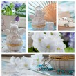 Violets and angels decorations collage - Foto Stock