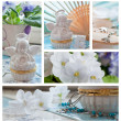 Foto Stock: Violets and angels decorations collage